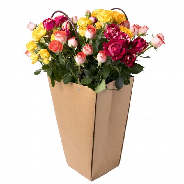 Кустовые розы в коробке № 2